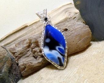 Blue Black White Bowlerite Silver Wire Wrapped Pendant