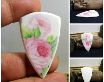 Pink Roses China Free Form Hand Cut Cabochon 47 mm