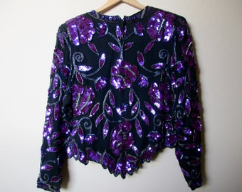 vintage black top with purple sequins - Kazar, evening, Christmas, New Year's Eve, petite large