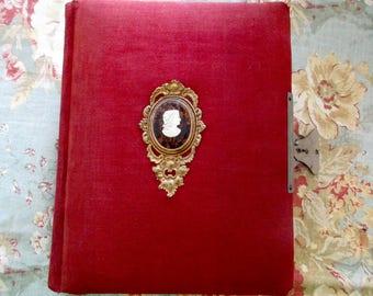 1900s antique photo album - red, cameo, metal clasp, gold