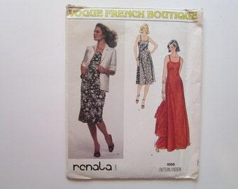 vintage Vogue pattern 1698 - Renata Vogue French Boutique - dress and jacket - size 10 - vintage Vogue 1698 - factory folded