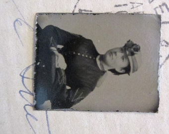antique miniature GEM tintype photo - woman in hat, sitter, late 1800s - gtf10