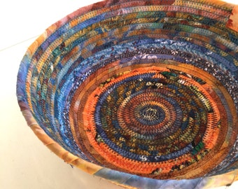Rope Coiled Basket - Orange Blue Bowl - Rag Gift Basket - Fruit Basket