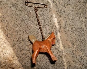Antique Handcarved Horse Brooch
