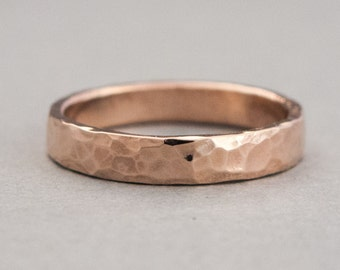 Rose Gold Wedding Ring - 3mm Flat Band in Hammered 14k Rose Gold, Yellow Gold, or White Gold