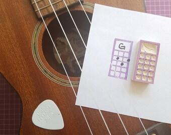 Ukulele or Bass Tab Stamp - Uke, music, chords, sheet, teacher, student, boxes