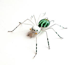 White and Green Wire Spider, Collectible Bug Ornament, Wire Art, Unique Spider, Two Faced Spider, Unique Gift for Special Occasions