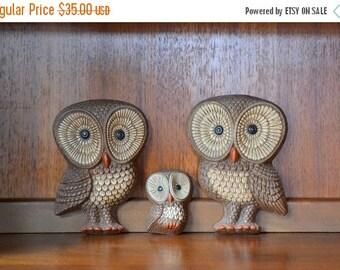 SALE 25% OFF vintage owl wall hangings