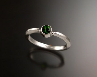 Chrome Diopside stackable ring Sterling Silver ring made to order in your size