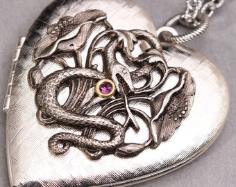 Silver Heart Locket Silver Heart Necklace Silver Heart Picture Locket Snake Necklace