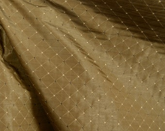 Dalyan Walnut Geometric Diamond Faux Silk Fabric