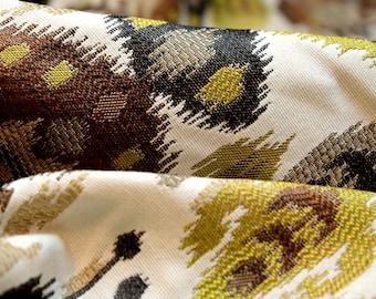 Ikat Damask Upholstery Fabric Green Brown Majiko Teak