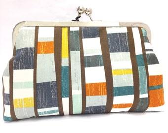 clutch purse - poles - blue- grey- yellow - purse - clutch  - kisslock - stripes - earth tones - coin purse - clutch bag