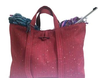 Large Knitting Bag Red Tote Travel Bag Project Bag Fully Lined Inside Pocket Knitting Organizer Knitting Tote Bag