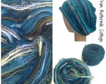 Teal Knit Slouchy Hat  Kit Yarn Pattern  Boutique Yarn Wool Mohair Art Yarn Knitting Hat Kit Rolled Brim Hat FUSION Yarn