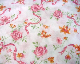 Vintage Pink Cabbage Rose Fabric - Orange Lilies, Raspberry Ribbons for Flirty Aprons Clothing Apparel Home Decor Floral Material BTY