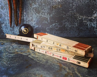 Wooden Extension Rulers / Set of Three /Brass / White / Made In USA