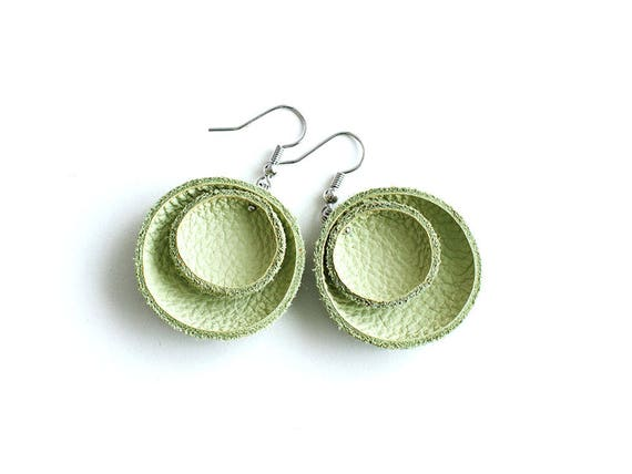 Light green leather circle Earrings SALE