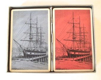 Vintage Illustrated Pinochle Cards, Double Set with Tall Ships Nautical Illustration from Hamilton Playing Cards