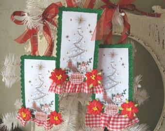 Christmas ornaments Vintage christmas tree tags christmas card tag paper ornament glittered tags for hostess gifts