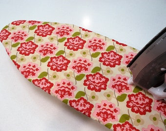 Ironing Board Cover TABLE TOP - deep red and pink retro flowers on taupe