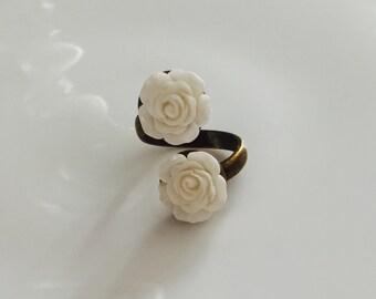 Flower Ring Spring Tea Rose Adjustable Ring Artisan Brass