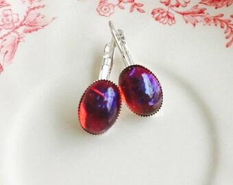 Fire Opal Earrings Leverbacks Silver Red Opal Dragons Breath