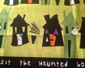 Halloween Haunted House Ghosts Cotton Quilting Fabric Material Spiders