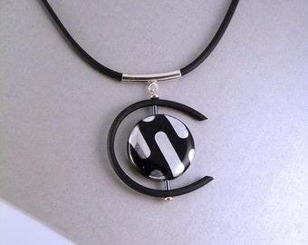 Czech glass modern pendant. Black.