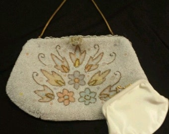 RARE Antique Pastel Beaded Evening Purse made CHARLET