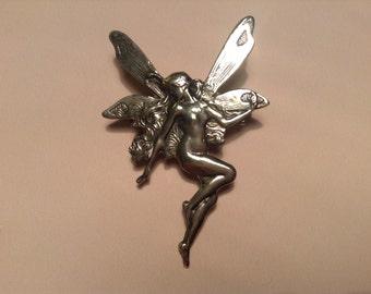 Vintage Angel Fairy Silver Coloured Brooch