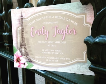 Vive la Paris! Blush Pink, Dusty Rose and Light Teal Aqua Blue Bridal or Baby shower invitations with a Vintage Flare