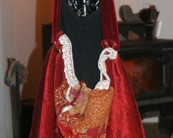 Large Tapestry Boho Shoulder Bag w/ Vintage Lace & Layered Flower