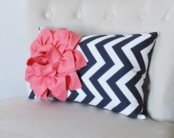 Navy Pillow Covers - Coral Navy and White Throw Pillow Covers - 9 x 16 Inch Navy Blue Pillow Cover - Decorative Pillow Navy Blue - Nautical