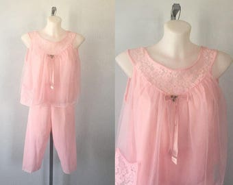 Vintage Pink Chiffon Baby Doll Set, Pink Baby Doll Set, 1960s Baby Doll, Vintage Lingerie, 1960s Lingerie,
