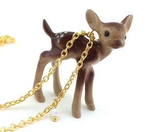 Gold Deer Necklace For Her - Woodland Jewelry - Womens Doe Jewelry - Sterling Silver Fawn Pendant -Baby Deer Gift -Rustic Reindeer Necklace