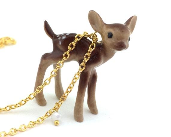 Gold Woodland Deer Necklace