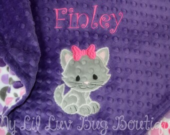 Baby blankets personalized - baby blankets handmade - kitten baby blanket - cat baby blanket - baby shower gift - personalized baby gift