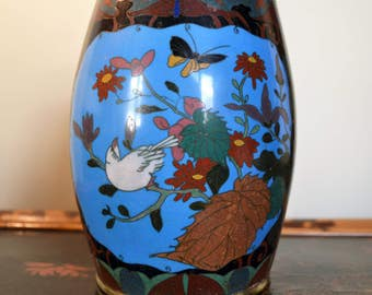Late Meiji barrel cloisonne vase - Japanese antique enamel pot - blue Oriental cloisonne vase - flowers birds foliage cloisonne planter