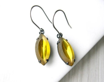 Yellow Dangle Earrings - Nickel Free Titanium Earwires, Marquis, Golden, Glass Drop, Simple Jewelry, Vintage Components,