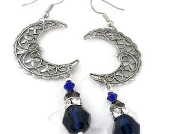 Crescent Moon Earrings - Wiccan Jewelry - Filigree Earrings - Celestial Jewelry - Moon Earrings - Moon Jewelry - Dangle Earrings - Bohemian