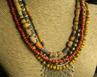 Tribal Jewelry Silver Pendant Choker Necklace Yellow Orange African Krobo Trade Bead