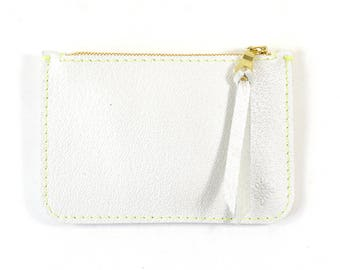 Pearlised White Leather Zip Pouch Purse Wallet Handmade