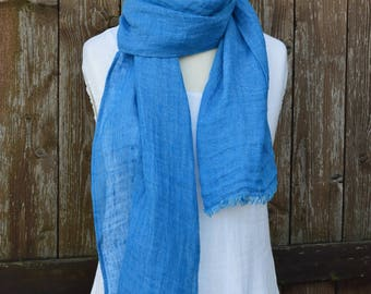 Mens scarf, summer linen scarf, woman scarf, blue linen scarf