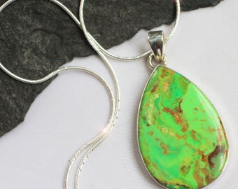 Green Apple - Rare Gaspeite Sterling Silver Necklace