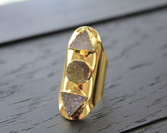 Druzy Ring Geode Ring Gold Cuff Ring Gold Hammered Cuff Ring Boho Ring Boho Jewelry Shield Ring Triple Stone Ring Druzy Jewelry Triangle