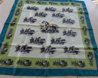 Satiny  Acetate Green on Green Scarf   Englishman with horse print and carriages around edge.. 27 x 28 inches