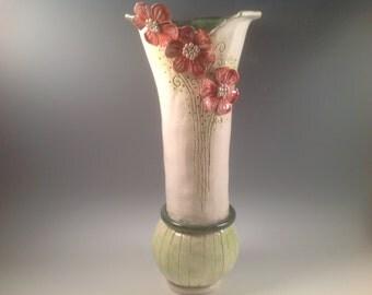 Vase/large vase/tall vase/pottery vase/flower vase/ceramic vase/flowered vase/unique vase/