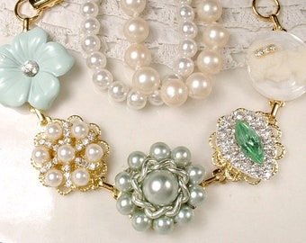 OOAK Mint Green & Ivory Pearl Rhinestone Gold Bridal Bracelet, Vintage Earring Mint Bridesmaid Bracelet, Jewelry Gift, Sets 3 4 5 6 7 8 Also