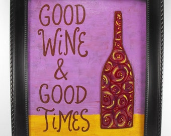 Canvas Wall Art - Good Wine and Good Times - Merlot Vino Quote Painting Whimsical
